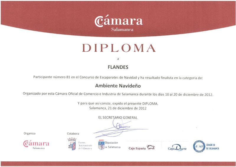 Diploma de la Cámara de Comercio de Salamanca
